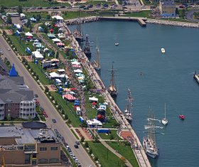 Aerial view of many Top Choice tent rentals