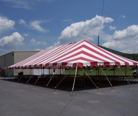Red and White Canopy Tent with tables